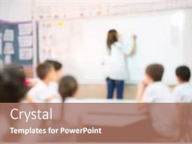 Presentation theme with kids-with-teacher-kids background and a coral colored foreground