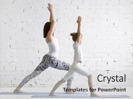 PPT theme enhanced with kids yoga female teacher training background and a light gray colored foreground.
