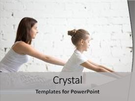 Audience pleasing presentation theme consisting of kids yoga female teacher training backdrop and a light gray colored foreground.