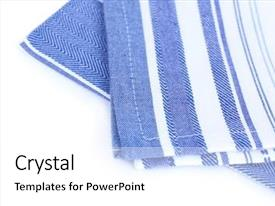 Beautiful slide deck featuring kitchen towels isolated on white backdrop and a white colored foreground