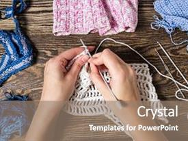 Cool new PPT layouts with knitting hand crochet female hand knit hook top view backdrop and a gray colored foreground