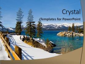 Beautiful presentation featuring lake tahoe in winter backdrop and a teal colored foreground