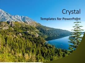 Presentation theme featuring lake tahoe landscape in california background and a light blue colored foreground