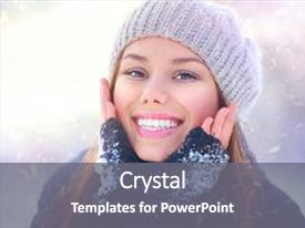PPT theme featuring laughs - winter girl portrait beauty background and a gray colored foreground.