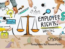 Audience pleasing slide deck consisting of law - employee rights employment equality job backdrop and a coral colored foreground