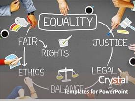 Presentation theme consisting of law - equality rights balance fair justice background and a gray colored foreground