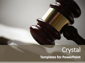 Cool new presentation design with law - gavel selective focus on metal backdrop and a tawny brown colored foreground