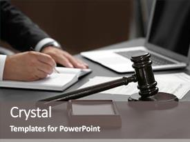 PPT layouts featuring law - judge gavel on table closeup background and a gray colored foreground