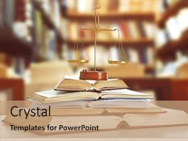 Slides enhanced with law - justice scales on table background and a coral colored foreground