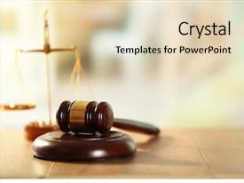 Presentation design featuring law - wooden judges gavel on wooden background and a lemonade colored foreground