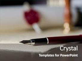 PPT theme with law attorney theme fountain pen background and a dark gray colored foreground.