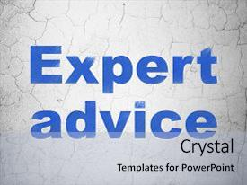 Presentation theme having law concept blue expert advice on textured concrete wall background background and a light blue colored foreground.