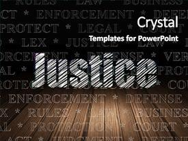Audience pleasing PPT theme consisting of law concept glowing text justice backdrop and a black colored foreground.