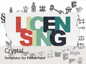 Beautiful PPT layouts featuring law concept painted multicolor text licensing on torn paper background with hand drawn law icons backdrop and a light gray colored foreground