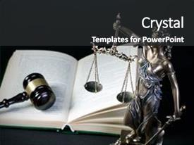 Presentation theme featuring justice - law concept with themis symbol background and a dark gray colored foreground.