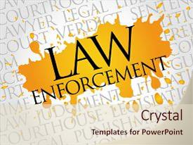 Slide deck consisting of police - law enforcement word cloud concept background and a lemonade colored foreground.