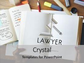 Beautiful PPT theme featuring lawyer legal advice law compliance concept backdrop and a light gray colored foreground