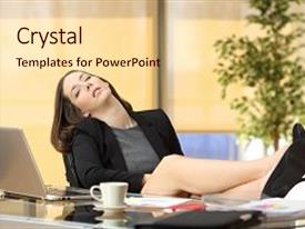 Slide deck enhanced with lazy or tired businesswoman sleeping background and a lemonade colored foreground.