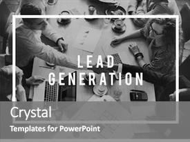 PPT theme featuring lead generation business research interest background and a gray colored foreground