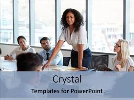 Cool new PPT layouts with leadership - businesswoman stands to address meeting backdrop and a light blue colored foreground