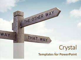 Beautiful slide deck featuring leadership - crossroad signpost saying this way backdrop and a cream colored foreground