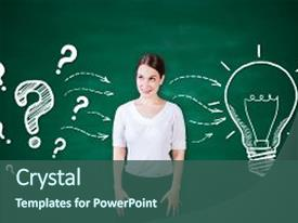 PPT theme featuring leadership art science - attractive young woman on chalkboard background and a  colored foreground.