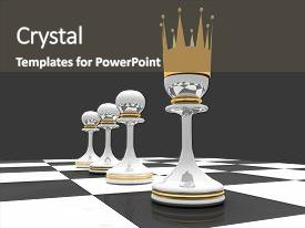 Amazing PPT layouts having leadership concept chess pawn with backdrop and a dark gray colored foreground.