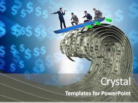 Slide deck featuring leading his team through dollar background and a gray colored foreground
