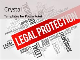 Colorful presentation theme enhanced with right accused - legal protection word cloud concept backdrop and a light gray colored foreground.