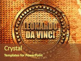 400 leonardo da vinci powerpoint templates w leonardo da vinci slide deck consisting of leonardo da vinci 3d rendering background and a tawny brown colored foreground toneelgroepblik Gallery