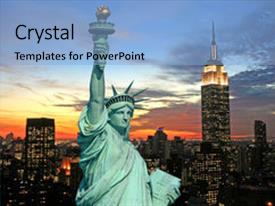 Colorful PPT theme enhanced with liberty and new york backdrop and a light blue colored foreground.