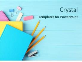 Colorful theme enhanced with library - colorful notebooks and office supplies backdrop and a arctic colored foreground
