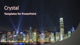 Presentation theme with lights in hong kong background and a wine colored foreground.