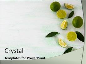 Colorful PPT layouts enhanced with nutrition - limes and lemons fresh food backdrop and a white colored foreground.