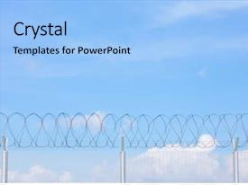 Presentation theme with link fence with barbed wire background and a light blue colored foreground