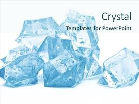 Cool new presentation theme with liquid crystal - ice on white background backdrop and a cool aqua colored foreground