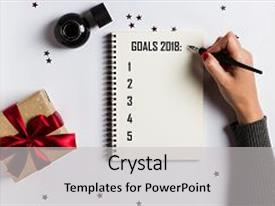 Colorful slide deck enhanced with list for new year 2018 backdrop and a light gray colored foreground.