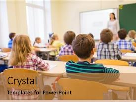 Audience pleasing theme consisting of listening to teacher in classroom backdrop and a gold colored foreground