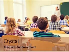 Slide set having listening to teacher in classroom background and a coral colored foreground