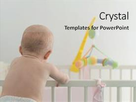 Presentation theme with little baby with backs clinging to the bars of his crib background and a light gray colored foreground.
