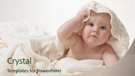 Amazing presentation theme having little child baby lying backdrop and a soft green colored foreground.