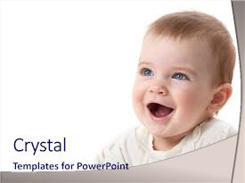 Presentation theme with little child baby smiling closeup background and a sky blue colored foreground.