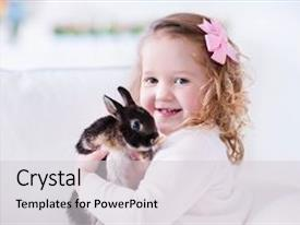 Amazing slide set having animal - little girl holding bunny children backdrop and a light gray colored foreground.