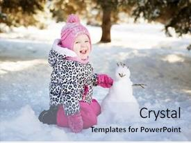 PPT layouts having little girl playing background and a light blue colored foreground