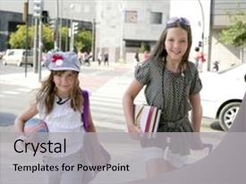 Theme enhanced with little girls going to school background and a light gray colored foreground.