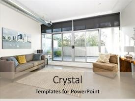 Slide deck enhanced with live - living room with sliding glass background and a mint green colored foreground