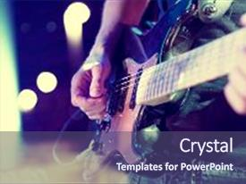 Presentation theme featuring live music background concert and music festival instrument on stage and band stage lights abstract musical background playing guitar and concert concept background and a violet colored foreground.