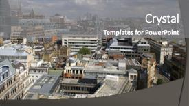 Colorful PPT theme enhanced with london buildings and streets view backdrop and a gray colored foreground.