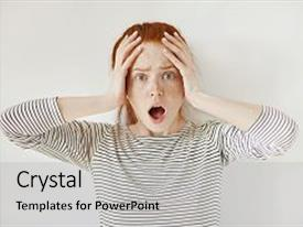 PPT theme featuring looking at camera with fear background and a light gray colored foreground.