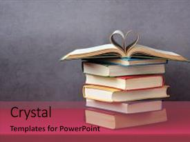 PPT theme with love of books reading stack background and a violet colored foreground.